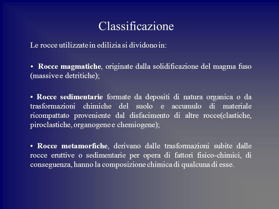 Classificazione Le rocce utilizzate in edilizia si dividono in: