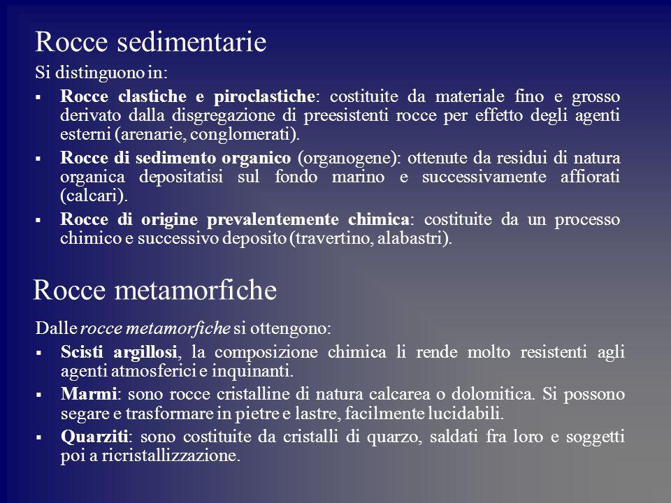 Rocce sedimentarie Rocce metamorfiche Si distinguono in: