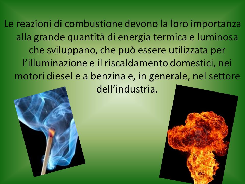 Le reazioni di combustione devono la loro importanza alla grande quantità di energia termica e luminosa che sviluppano, che può essere utilizzata per l'illuminazione e il riscaldamento domestici, nei motori diesel e a benzina e, in generale, nel settore dell'industria.