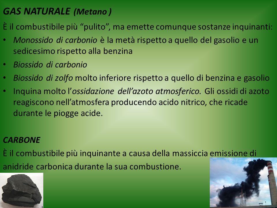 GAS NATURALE (Metano ) È il combustibile più pulito , ma emette comunque sostanze inquinanti: