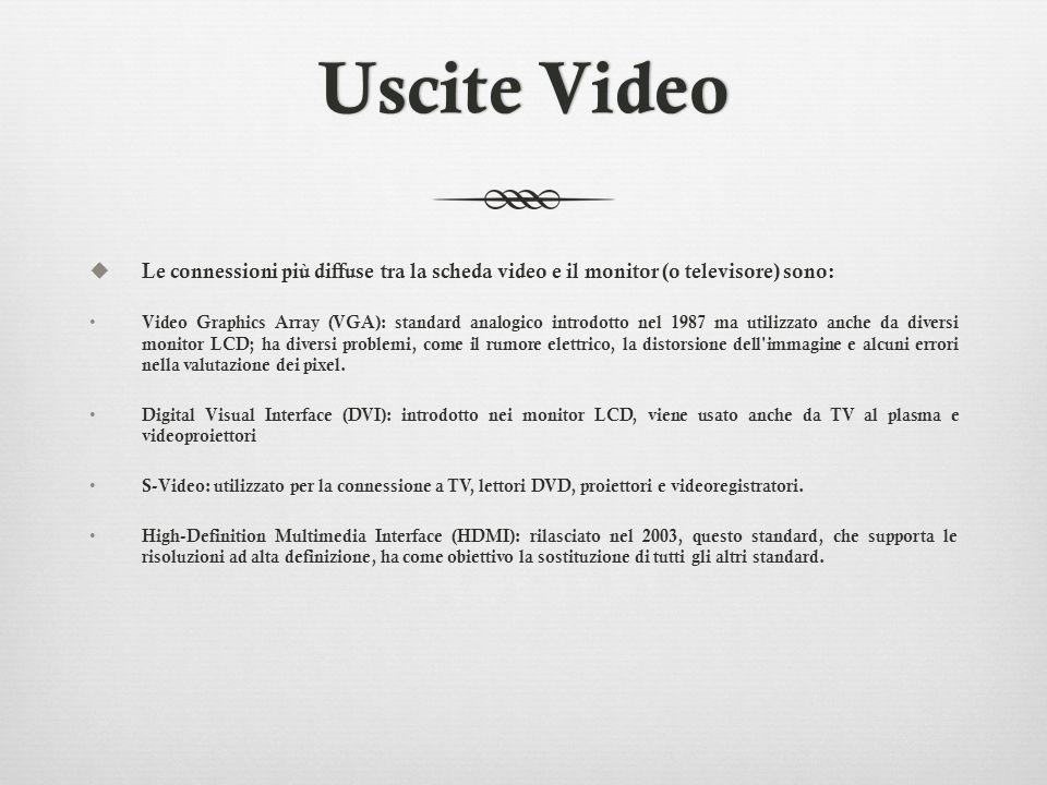 Uscite Video Le connessioni più diffuse tra la scheda video e il monitor (o televisore) sono: