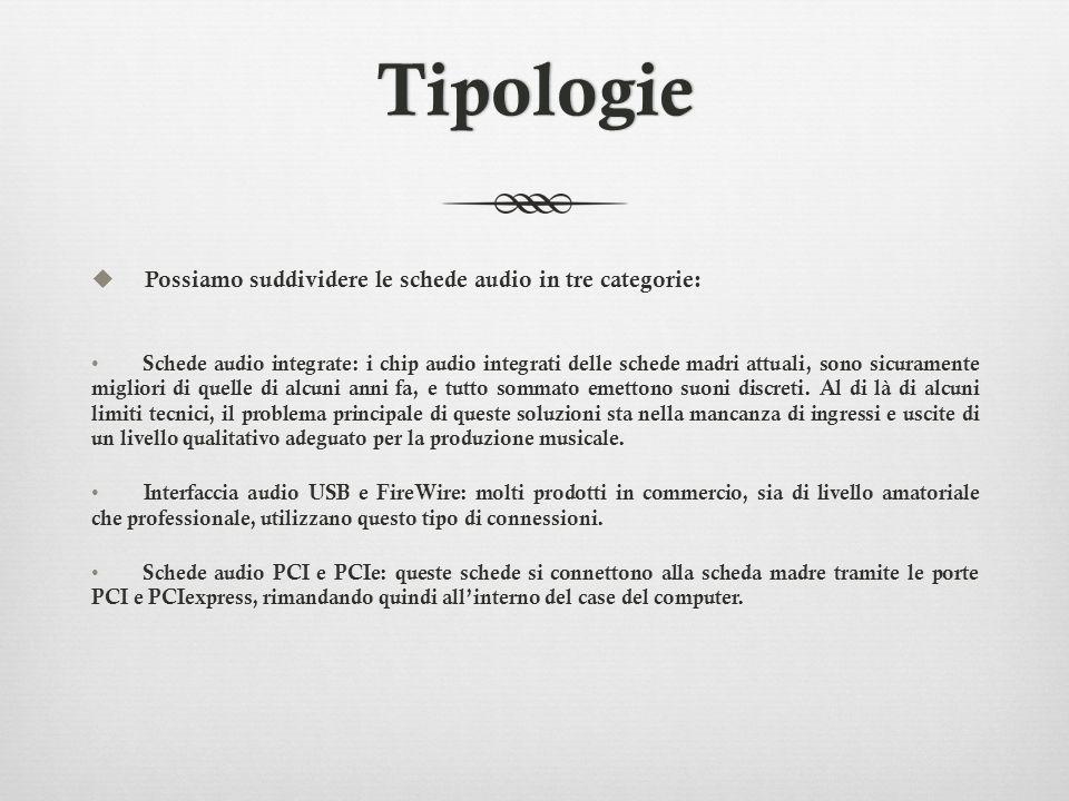 Tipologie Possiamo suddividere le schede audio in tre categorie: