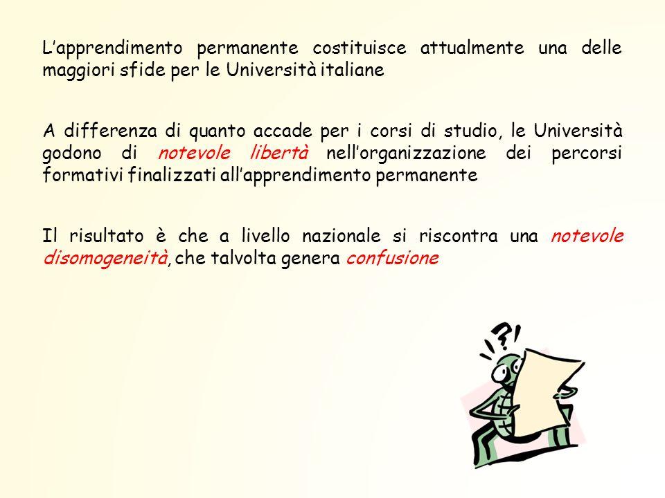 L'apprendimento permanente costituisce attualmente una delle maggiori sfide per le Università italiane