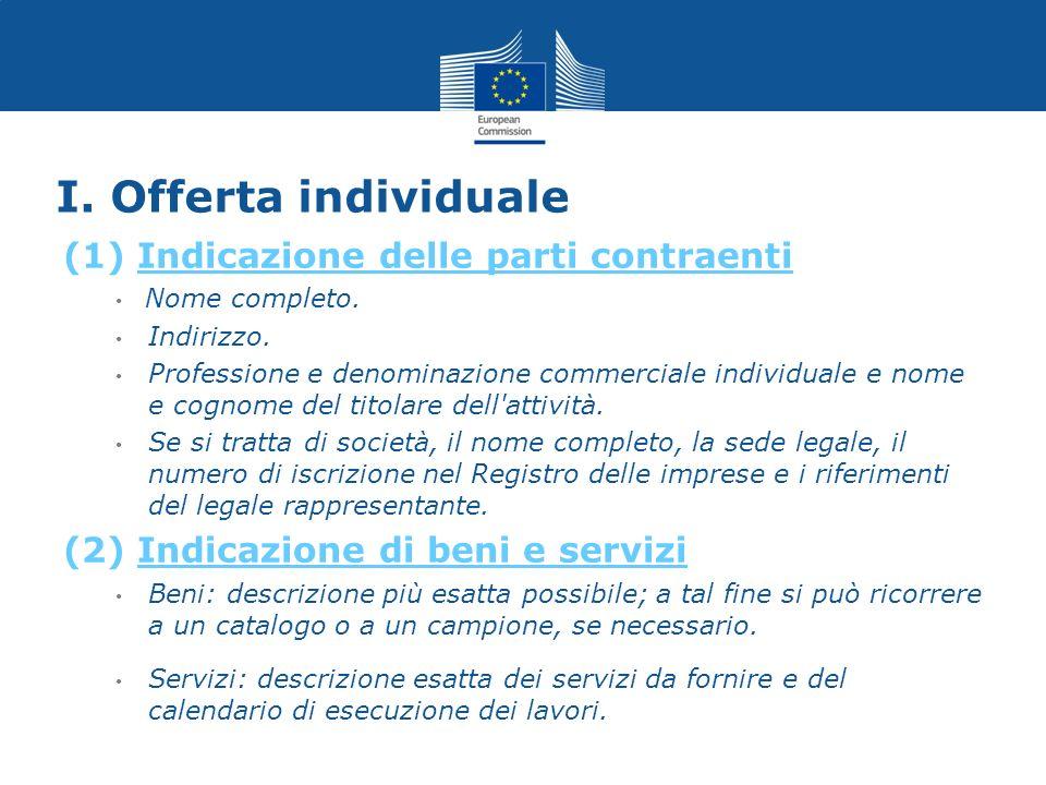 I. Offerta individuale (1) Indicazione delle parti contraenti