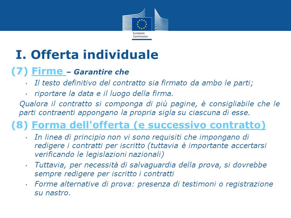 I. Offerta individuale (7) Firme – Garantire che