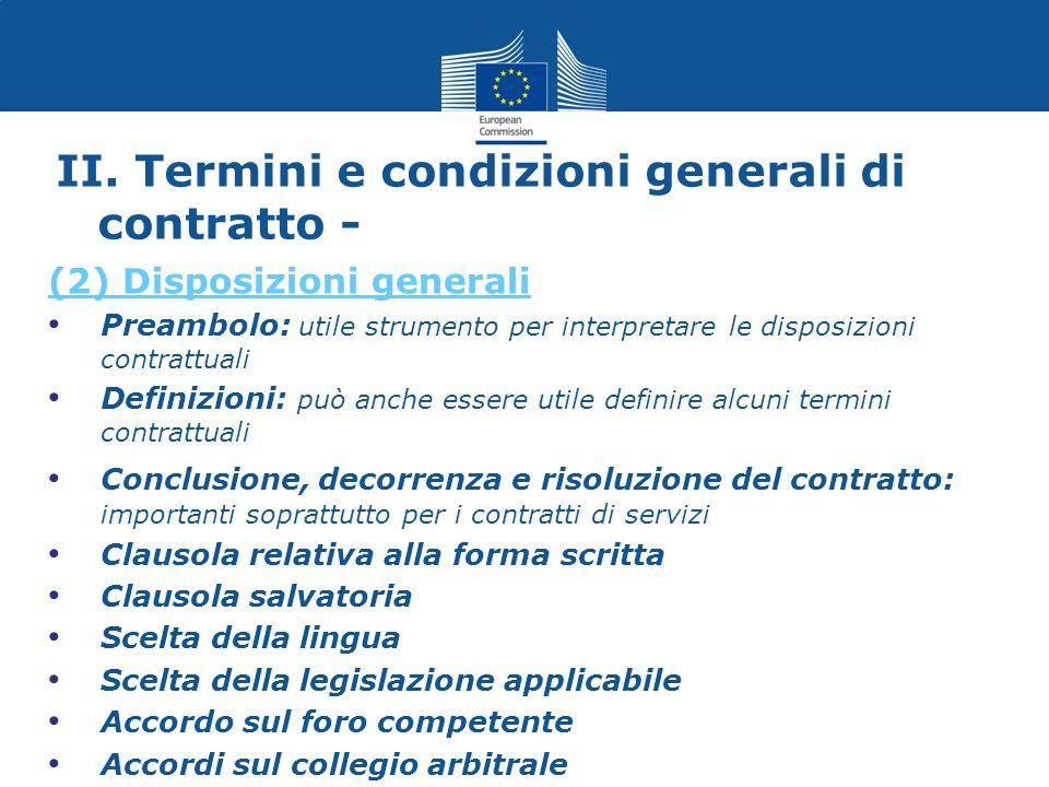 II. Termini e condizioni generali di contratto -