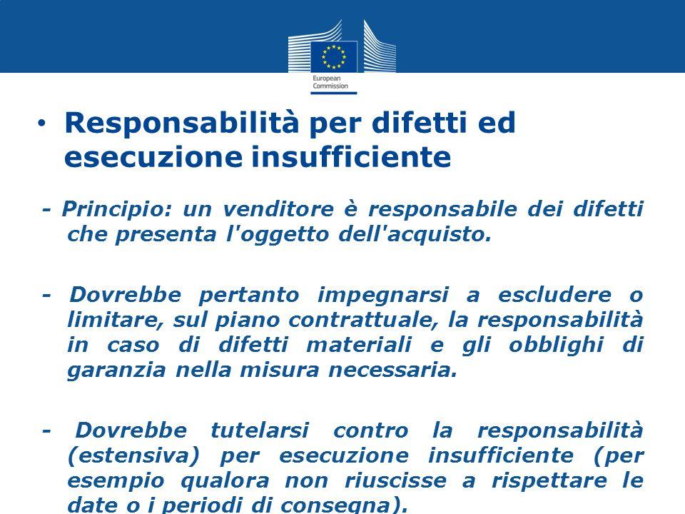 Responsabilità per difetti ed esecuzione insufficiente