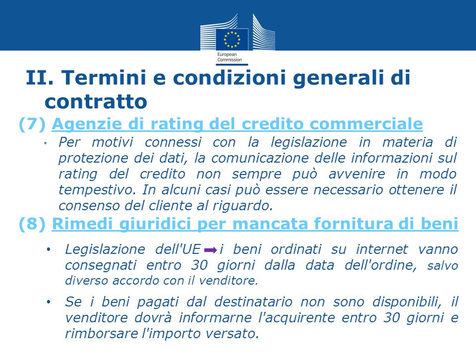 II. Termini e condizioni generali di contratto