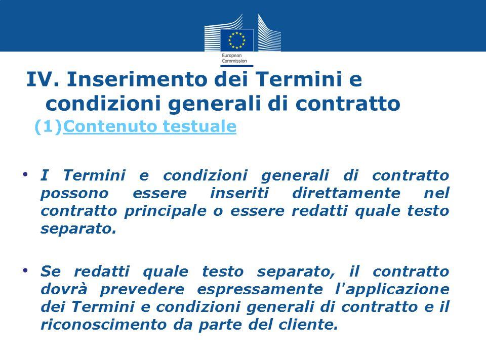 IV. Inserimento dei Termini e condizioni generali di contratto