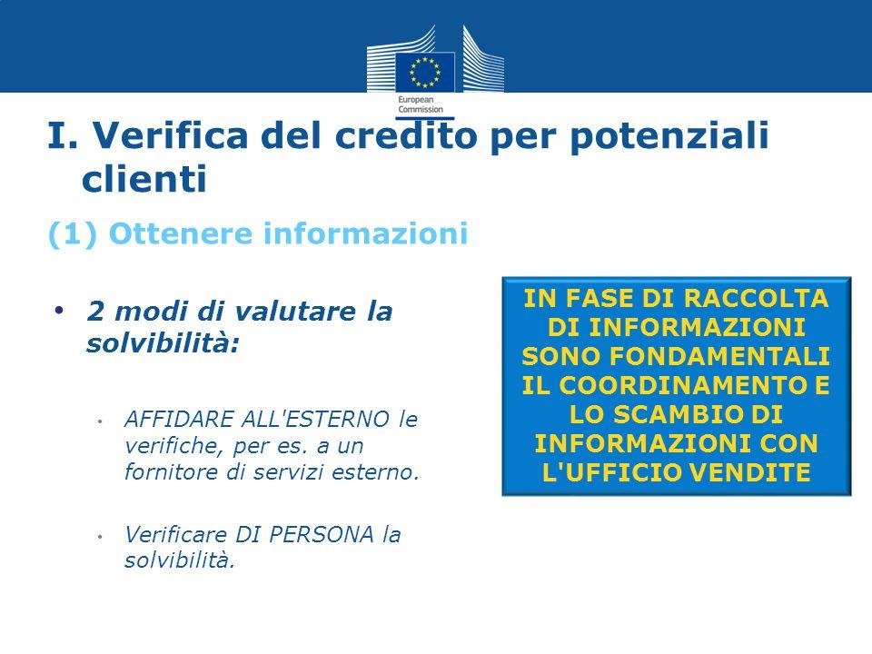 I. Verifica del credito per potenziali clienti