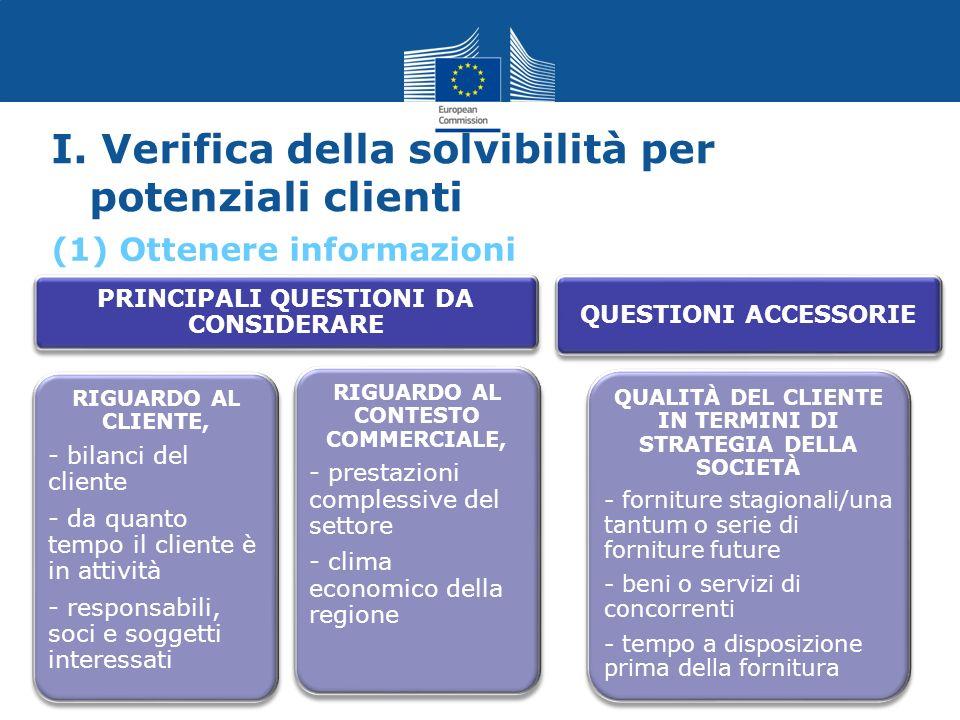 I. Verifica della solvibilità per potenziali clienti