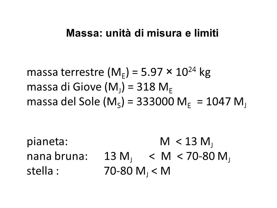 Massa: unità di misura e limiti