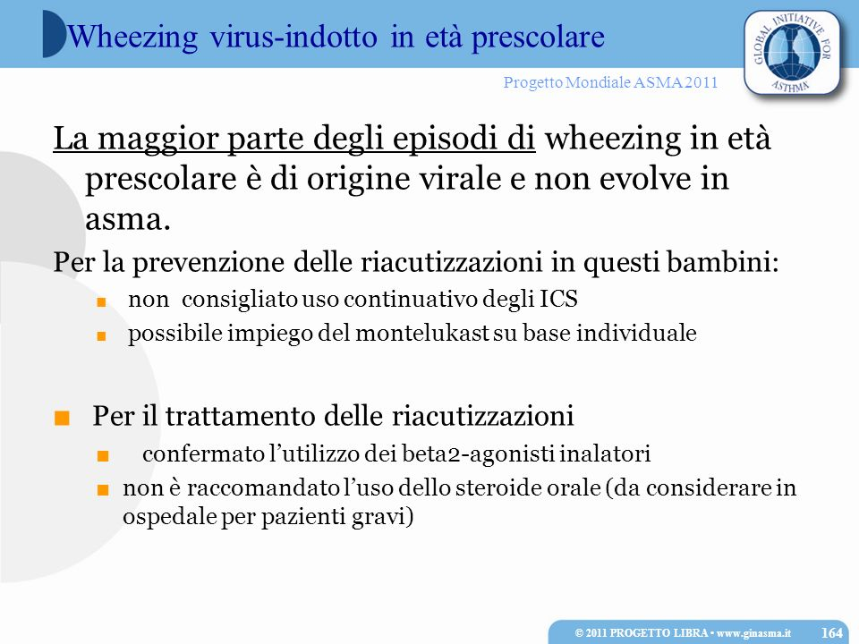 Wheezing virus-indotto in età prescolare