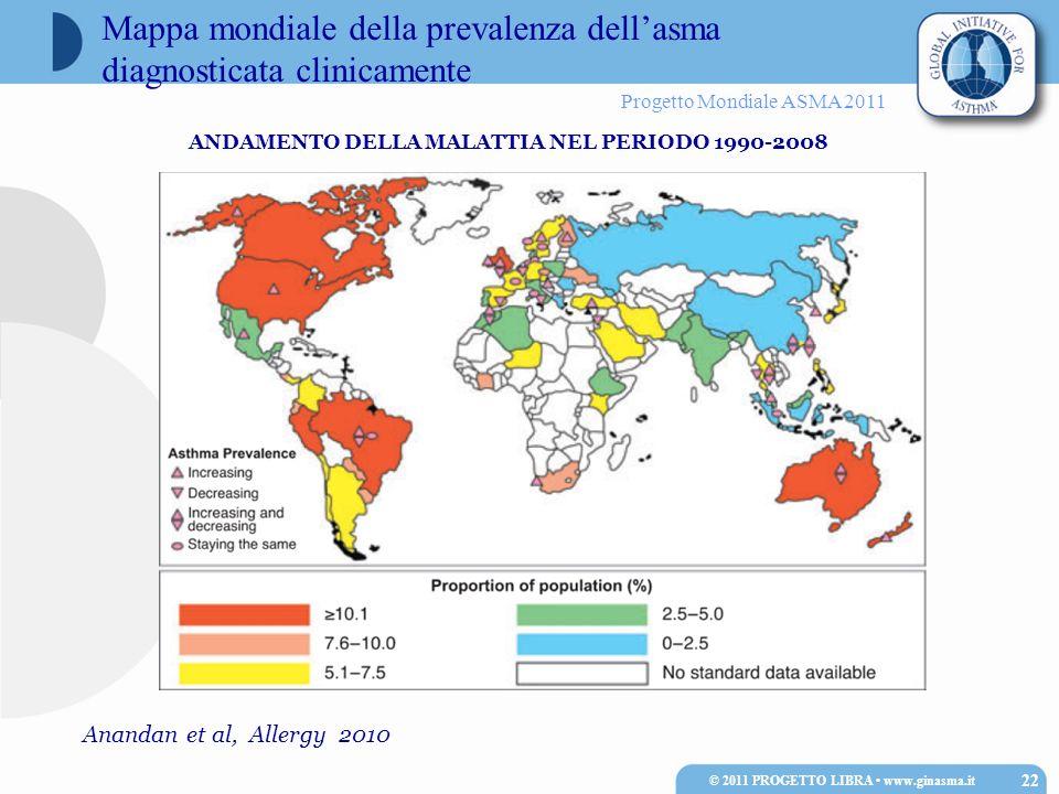 Mappa mondiale della prevalenza dell'asma diagnosticata clinicamente