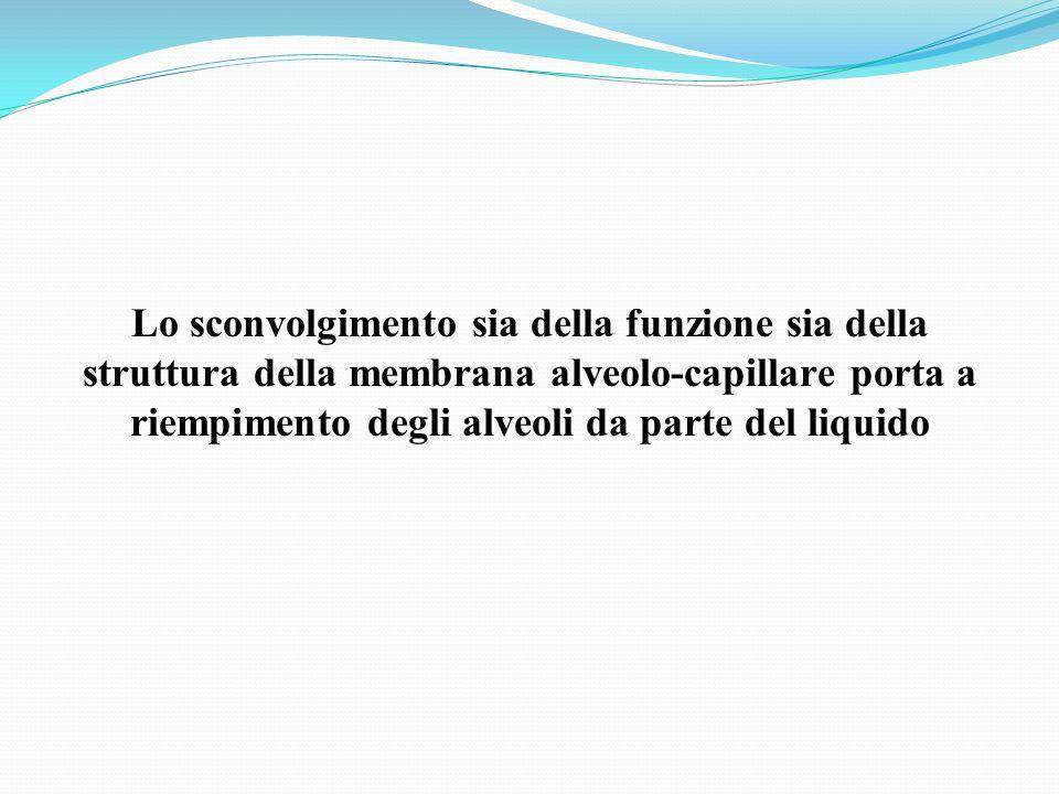 Lo sconvolgimento sia della funzione sia della struttura della membrana alveolo-capillare porta a riempimento degli alveoli da parte del liquido