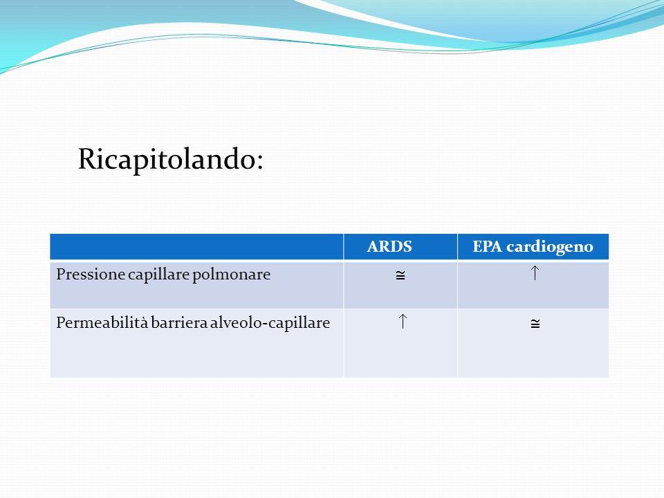 Ricapitolando: ARDS EPA cardiogeno Pressione capillare polmonare  