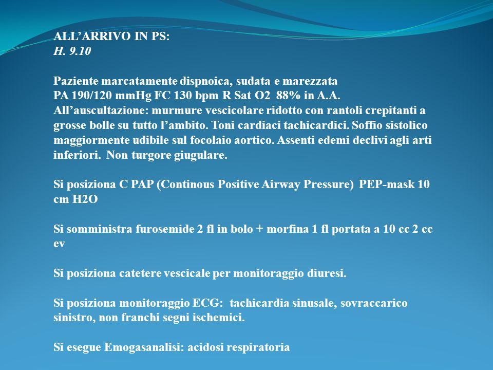 ALL'ARRIVO IN PS: H. 9.10. Paziente marcatamente dispnoica, sudata e marezzata. PA 190/120 mmHg FC 130 bpm R Sat O2 88% in A.A.