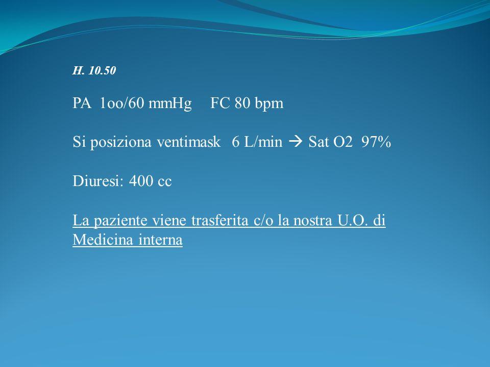 Si posiziona ventimask 6 L/min  Sat O2 97% Diuresi: 400 cc