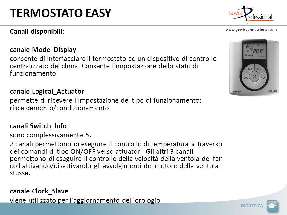 TERMOSTATO EASY Canali disponibili: canale Mode_Display