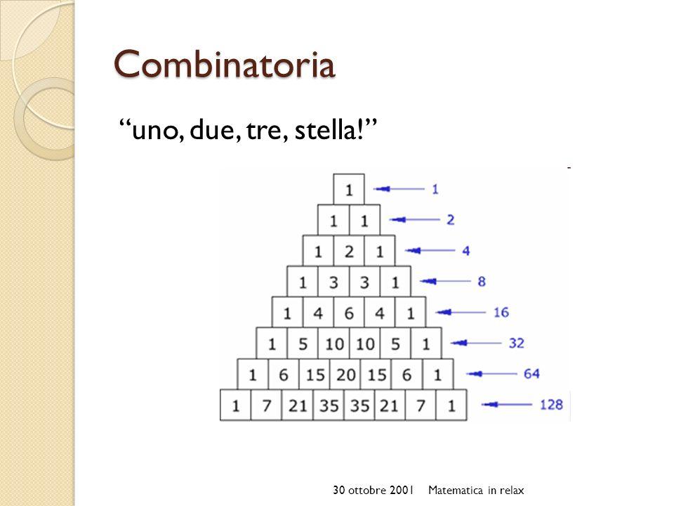 Combinatoria uno, due, tre, stella! 30 ottobre 2001