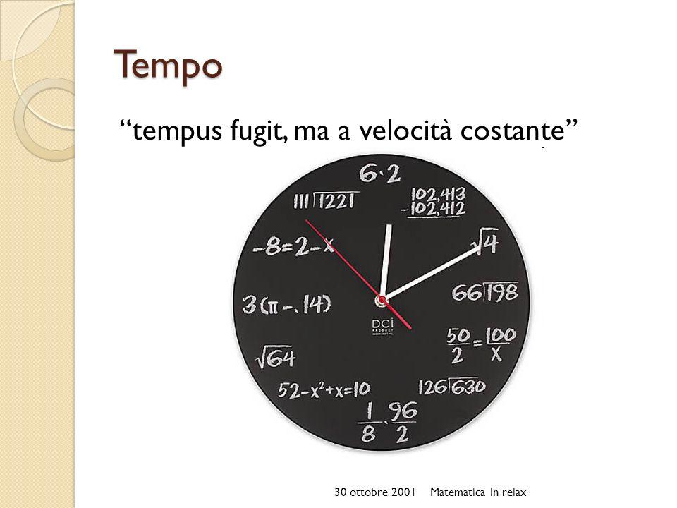 Tempo tempus fugit, ma a velocità costante 30 ottobre 2001