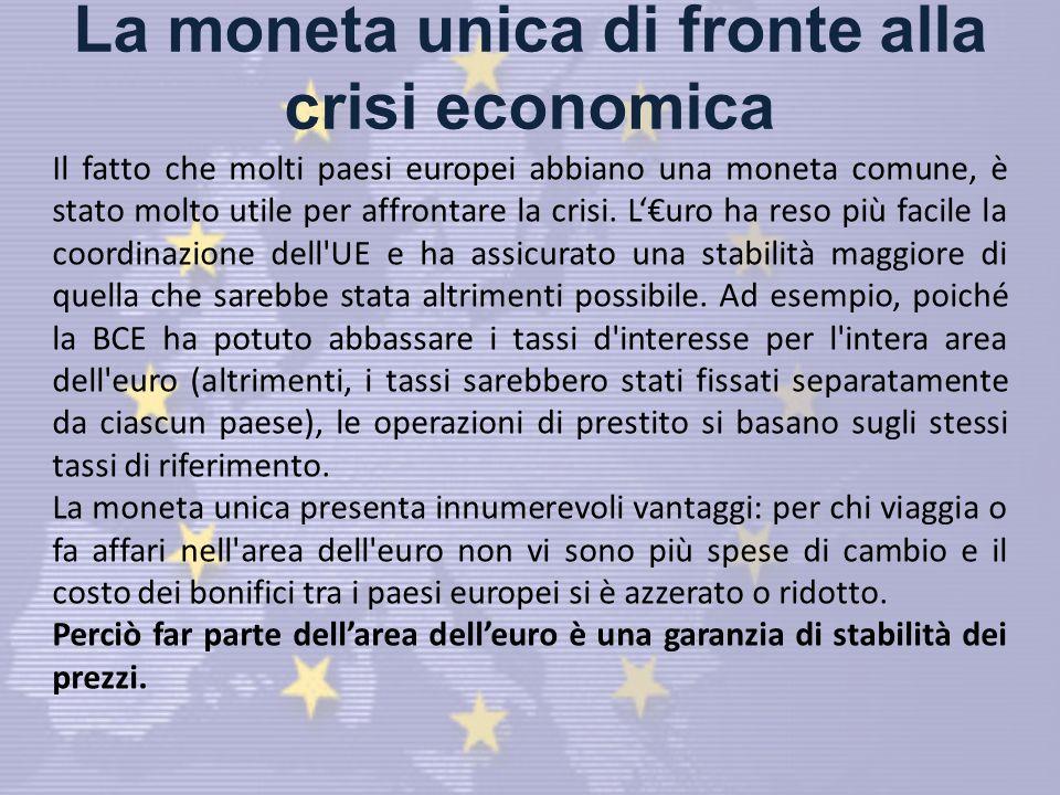 La moneta unica di fronte alla crisi economica