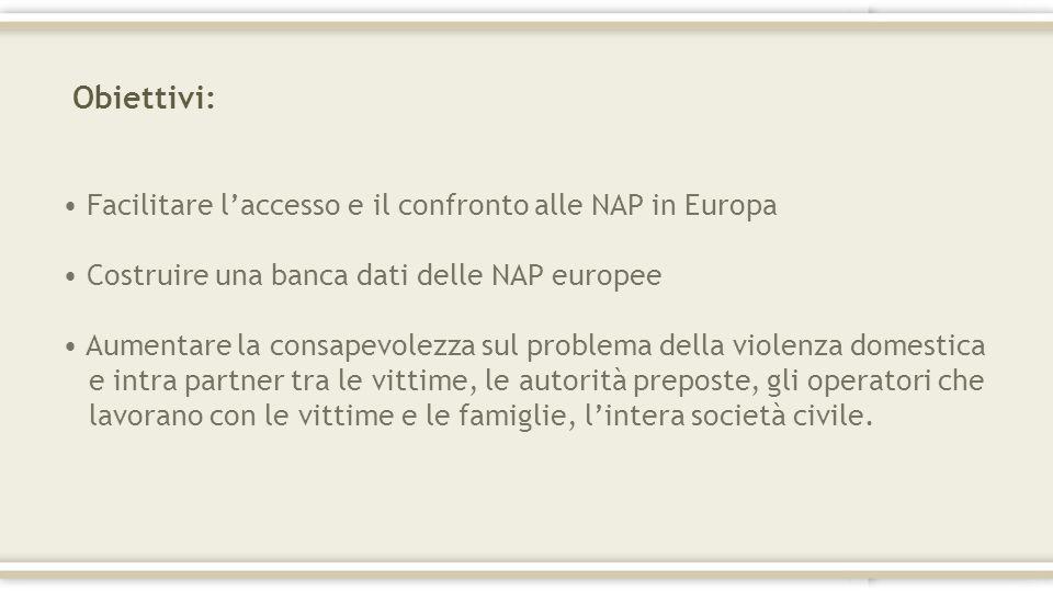 Obiettivi: Facilitare l'accesso e il confronto alle NAP in Europa