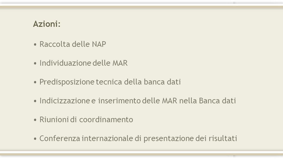 Azioni: Raccolta delle NAP Individuazione delle MAR