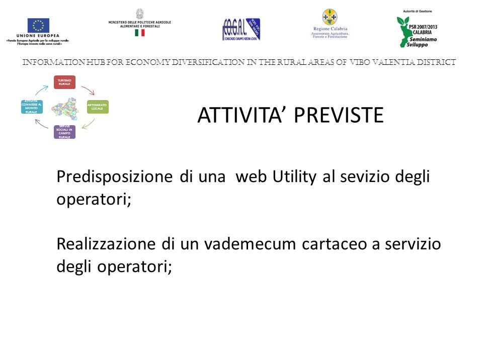 INFORMATION HUB FOR ECONOMY DIVERSIFICATION IN THE RURAL AREAS OF VIBO VALENTIA DISTRICT