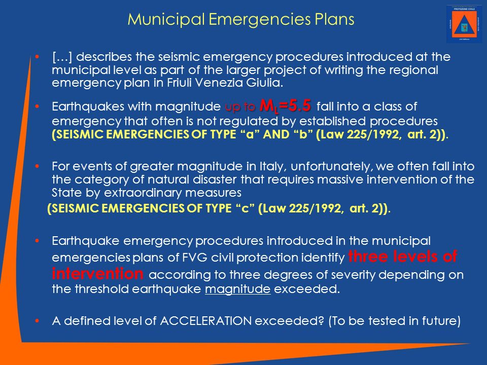 Municipal Emergencies Plans