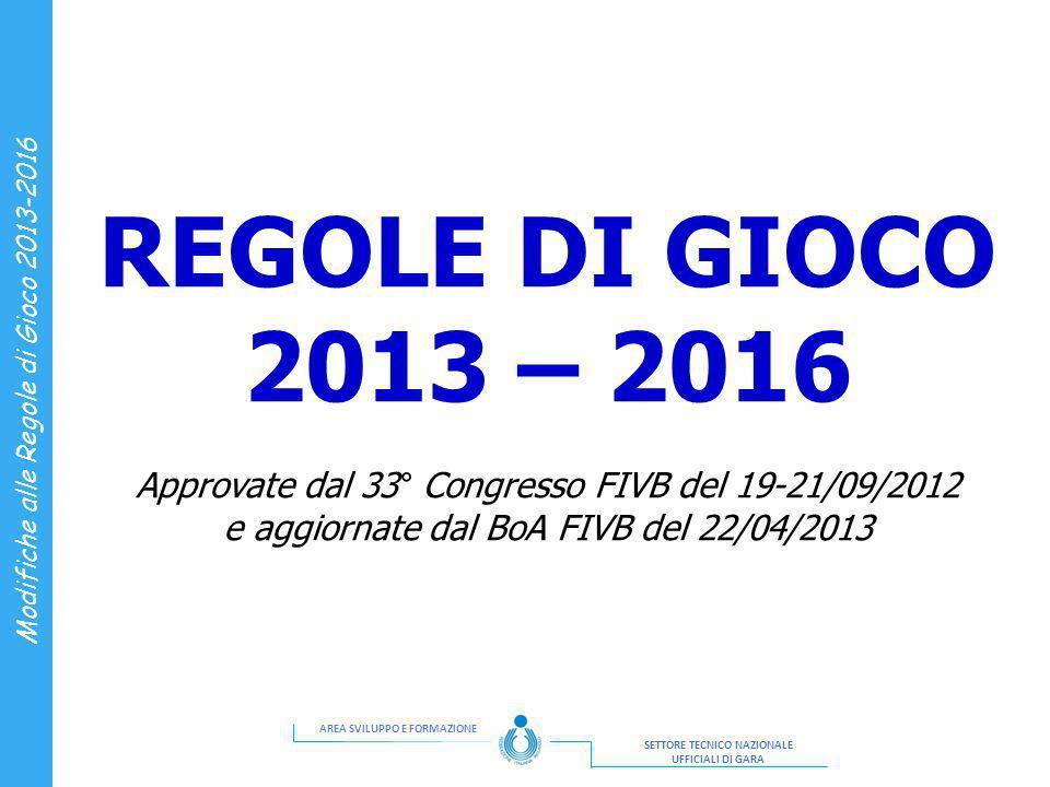 REGOLE DI GIOCO 2013 – 2016 Approvate dal 33° Congresso FIVB del 19-21/09/2012 e aggiornate dal BoA FIVB del 22/04/2013