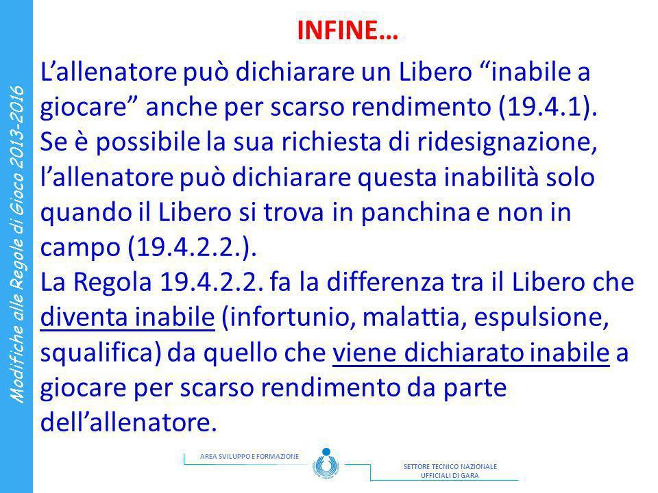INFINE… L'allenatore può dichiarare un Libero inabile a giocare anche per scarso rendimento (19.4.1).