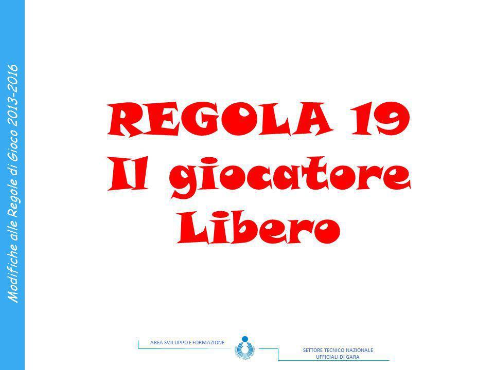 REGOLA 19 Il giocatore Libero