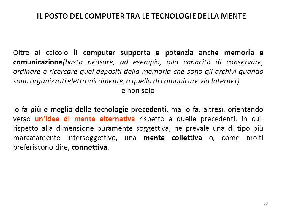 IL POSTO DEL COMPUTER TRA LE TECNOLOGIE DELLA MENTE