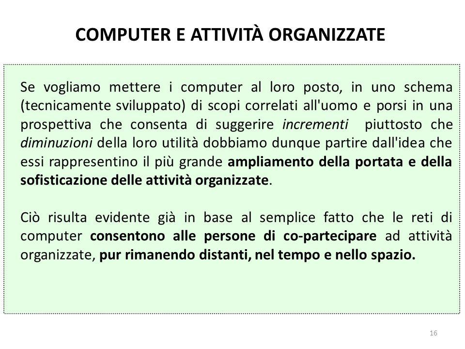 COMPUTER E ATTIVITÀ ORGANIZZATE