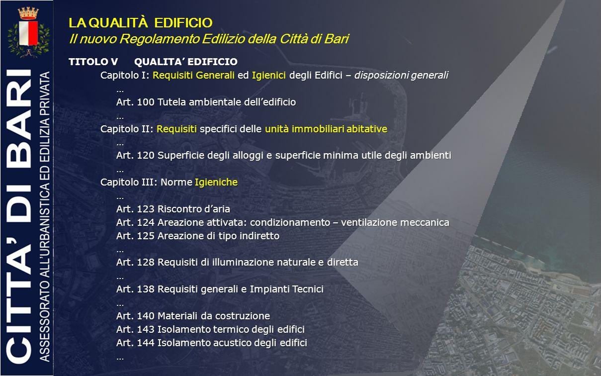 Il nuovo Regolamento Edilizio della Città di Bari