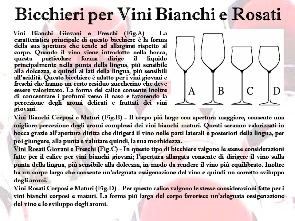Bicchieri per Vini Bianchi e Rosati