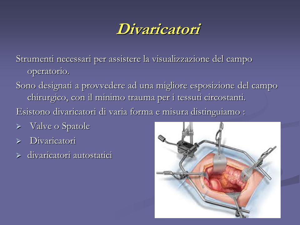 Divaricatori Strumenti necessari per assistere la visualizzazione del campo operatorio.