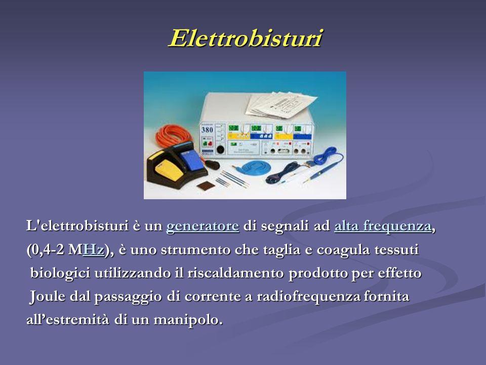 Elettrobisturi L elettrobisturi è un generatore di segnali ad alta frequenza, (0,4-2 MHz), è uno strumento che taglia e coagula tessuti.