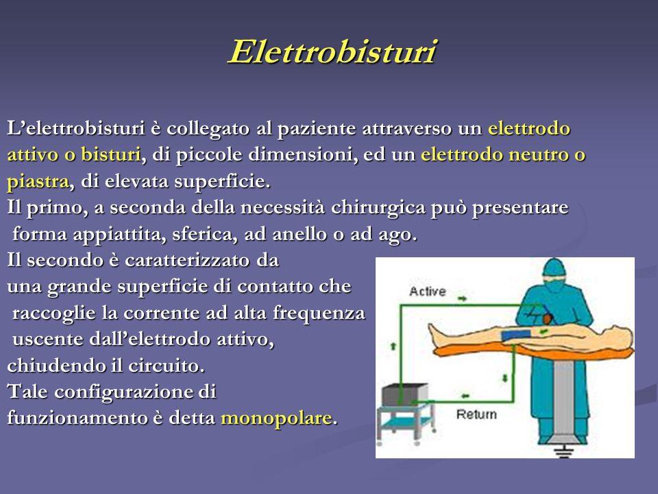 Elettrobisturi L'elettrobisturi è collegato al paziente attraverso un elettrodo. attivo o bisturi, di piccole dimensioni, ed un elettrodo neutro o.