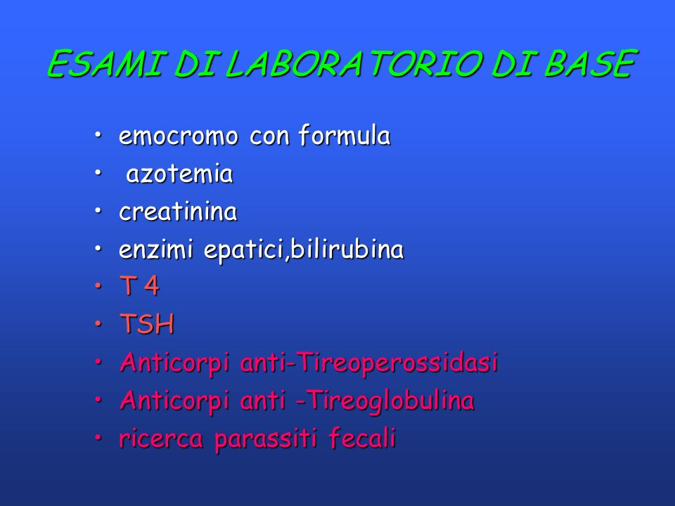 ESAMI DI LABORATORIO DI BASE