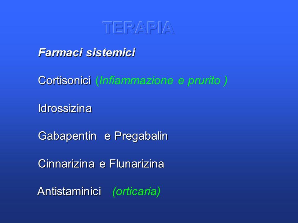 TERAPIA Farmaci sistemici Cortisonici (Infiammazione e prurito )