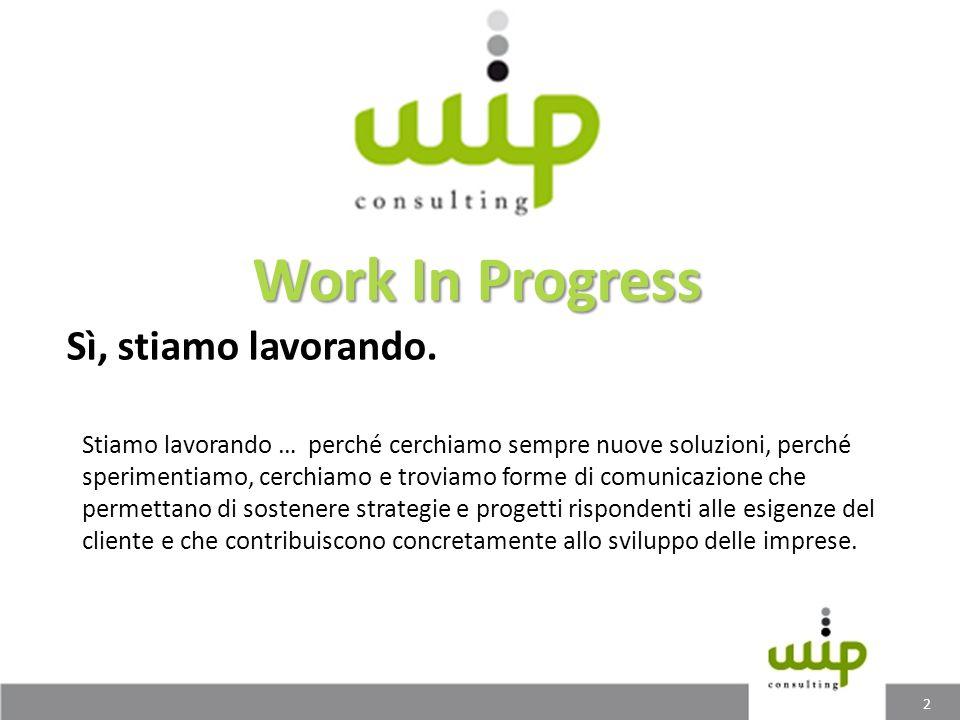 Work In Progress Sì, stiamo lavorando.
