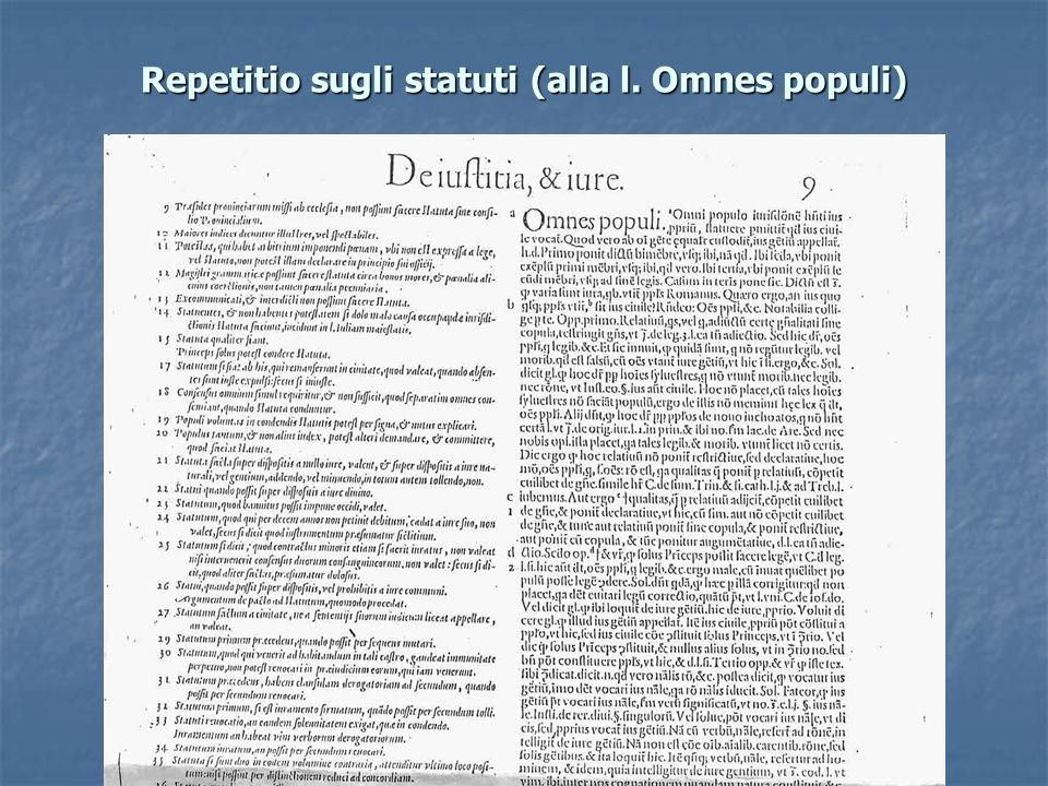 Repetitio sugli statuti (alla l. Omnes populi)