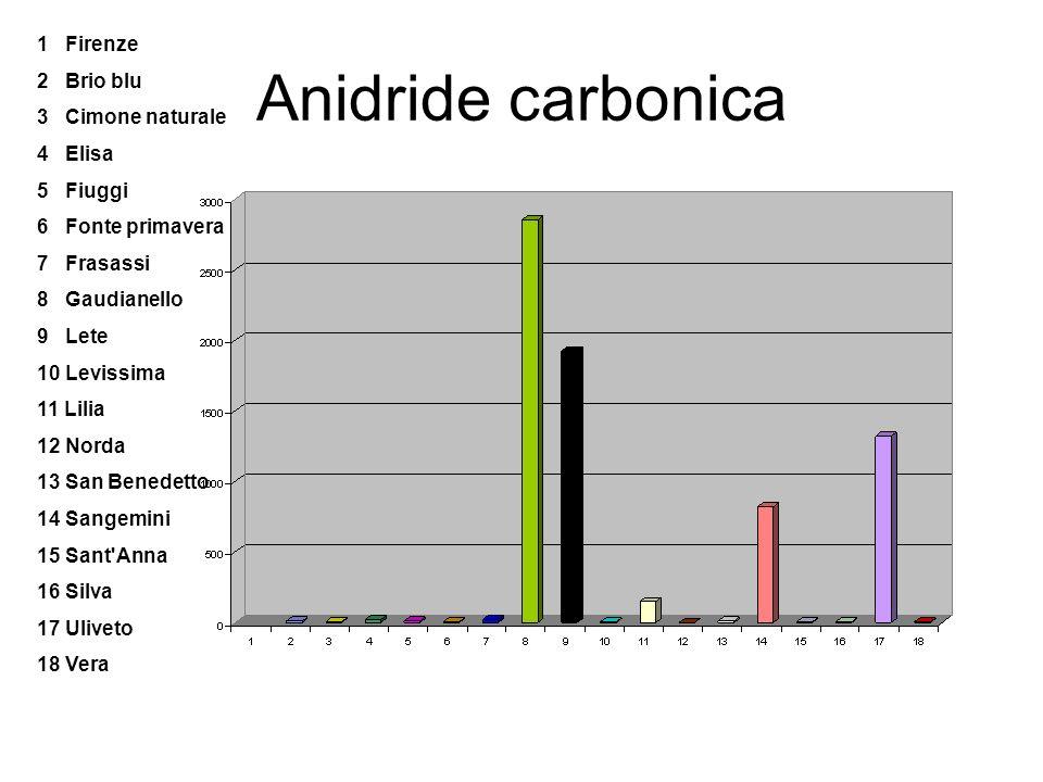 Anidride carbonica 1 Firenze 2 Brio blu 3 Cimone naturale 4 Elisa