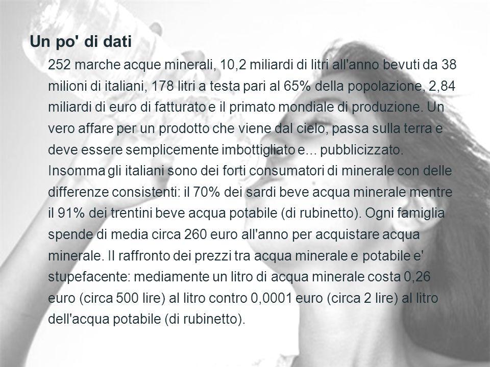 Un po di dati 252 marche acque minerali, 10,2 miliardi di litri all anno bevuti da 38 milioni di italiani, 178 litri a testa pari al 65% della popolazione, 2,84 miliardi di euro di fatturato e il primato mondiale di produzione.