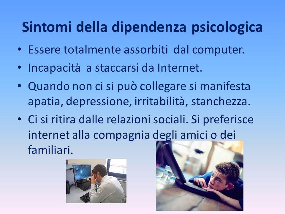 Sintomi della dipendenza psicologica