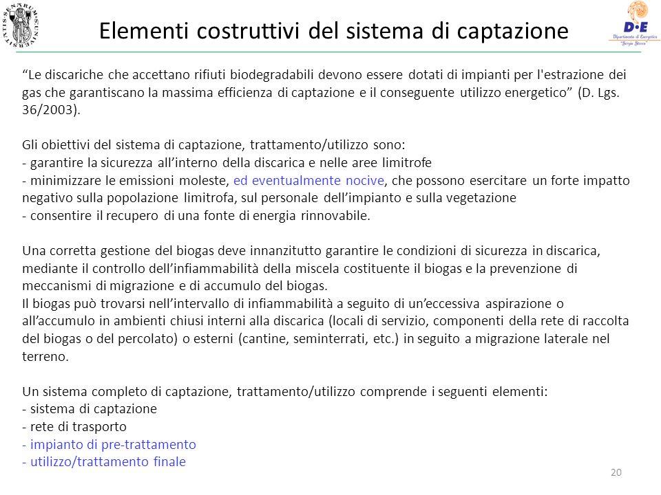 Elementi costruttivi del sistema di captazione