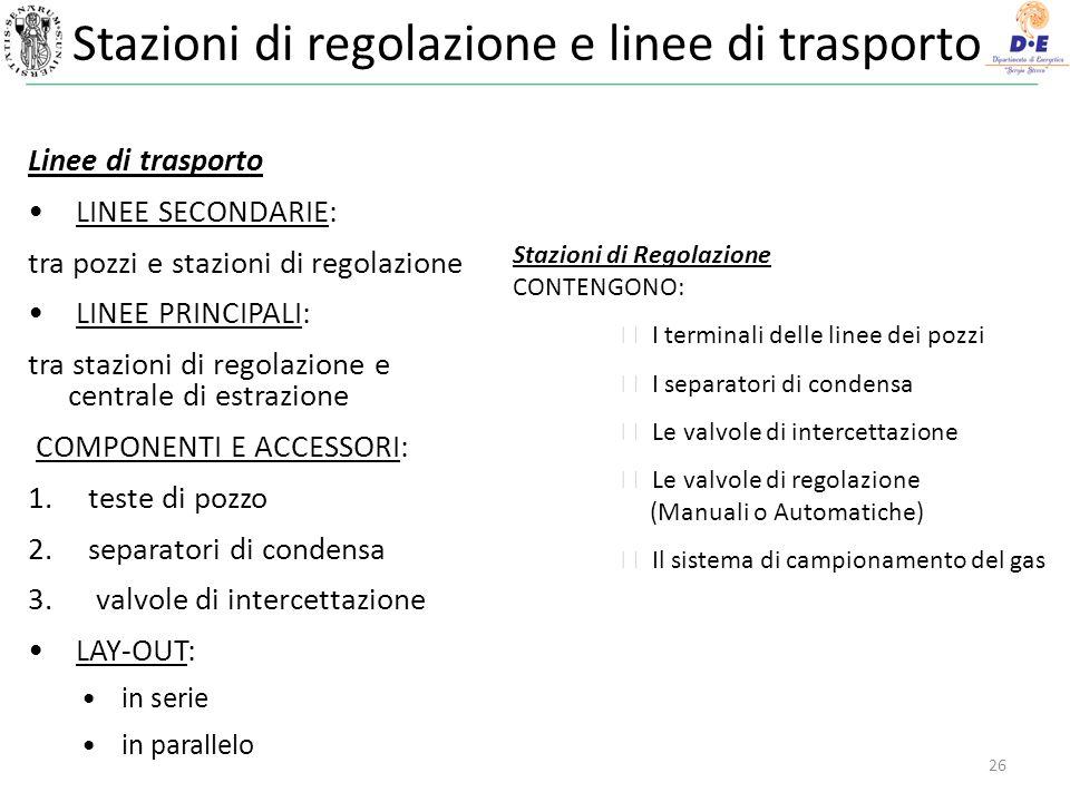 Stazioni di regolazione e linee di trasporto
