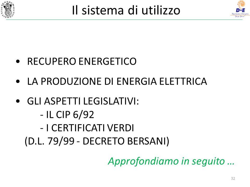 Il sistema di utilizzo RECUPERO ENERGETICO